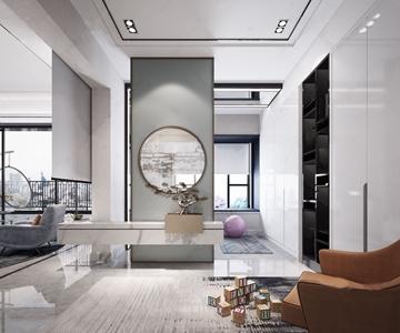 新中式门厅 新中式玄关 盆景 枯松 隔断 积木 休闲沙发 吊椅