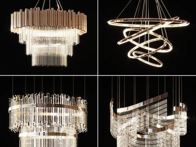 现代金属水晶吊灯3d模型