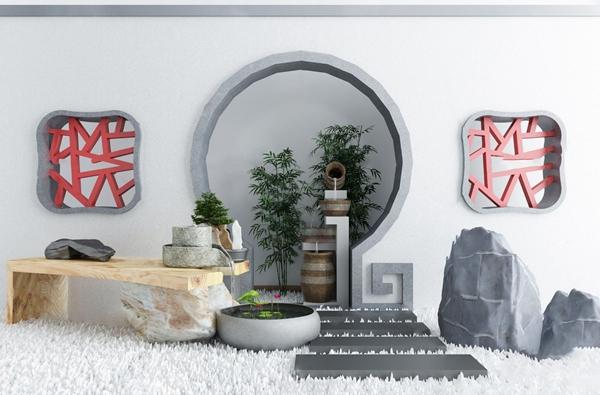 新中式假石水井景观小品3d模型