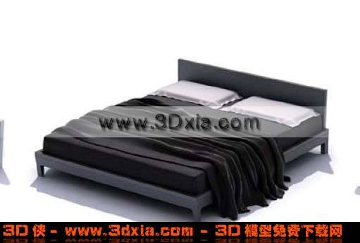 现代风格超级精美双人床3D模型