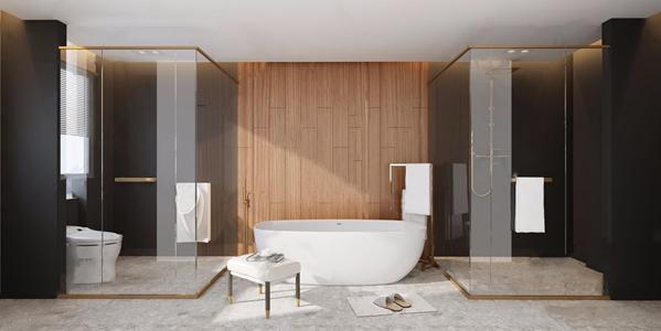 现代简约卫生间 现代卫浴 浴室 浴缸 水磨石 方凳 淋浴间 毛巾 坐便器