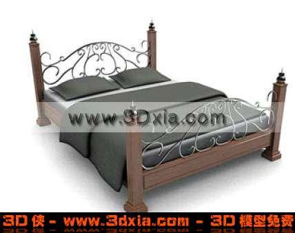 优雅美观的双人床3D模型