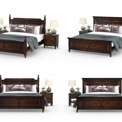 美式实木双人床3D模型