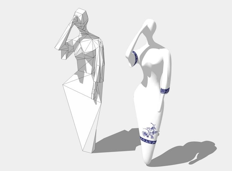 中式人物SU模型