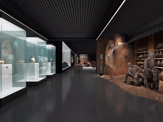 博物馆 现代博物馆 展柜 橱窗 人物雕塑
