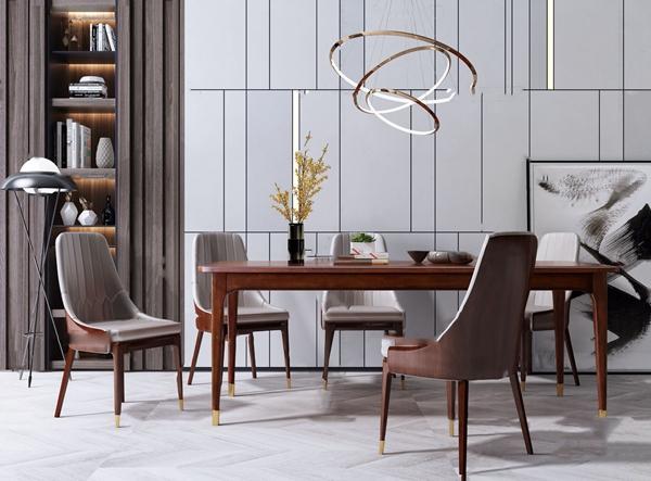 美式原木餐桌椅3d模型