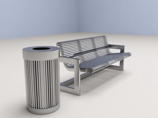 单体垃圾桶椅子 垃圾桶 椅子 户外椅