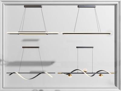 现代长形金属吊灯3d模型