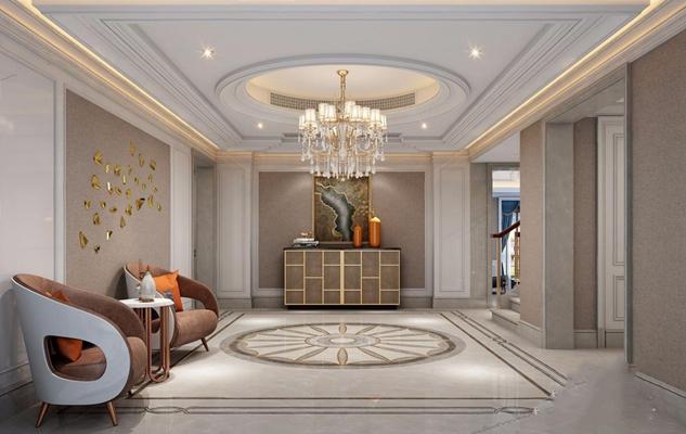 美式门厅 美式门厅 玄关 装饰柜 边柜 休闲单椅 水晶吊灯 摆件 墙饰
