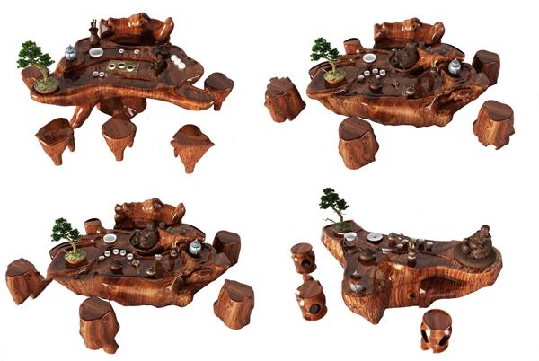 中式根雕茶桌椅3d模型