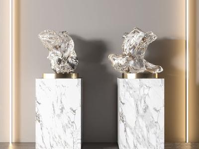 现代抽象金属雕塑摆件3d模型