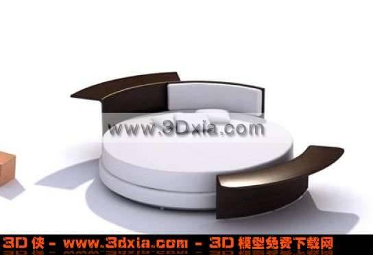 最新时尚的黑白经典搭配圆床3D模型