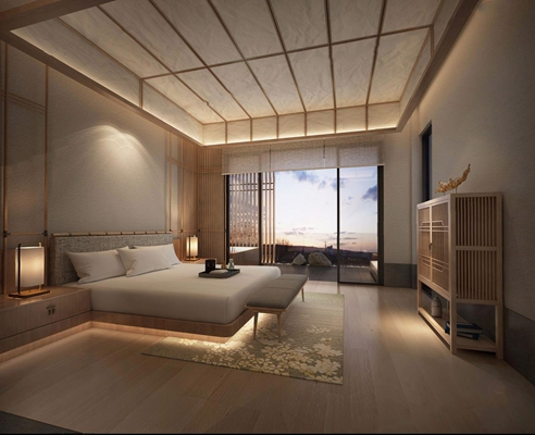 日式汤屋 日式卧室 spa 双人床 餐具 床头柜 床尾凳 装饰柜 摆件 台灯 单头 浴缸 多人沙发