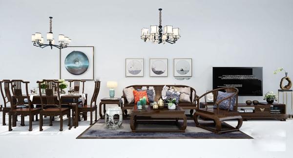 新中式沙发茶几餐桌椅电视柜组合3d模型