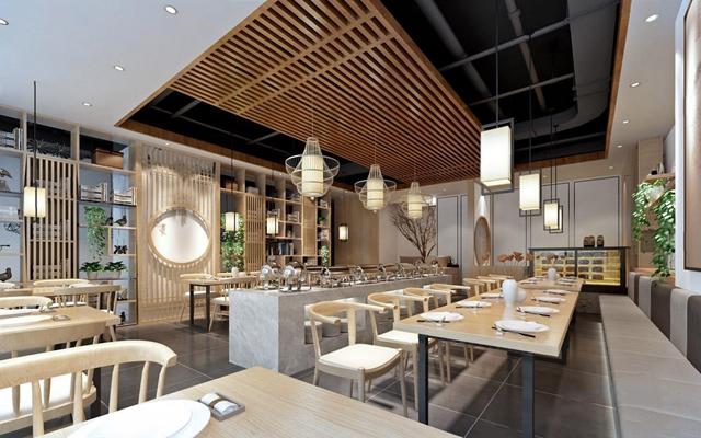 新中式餐厅 新中式餐厅 餐桌 餐椅 取餐台 餐具台 卡座 竹子吊灯 单头吊灯 装饰架 吊篮 蛋糕柜 自助餐厅