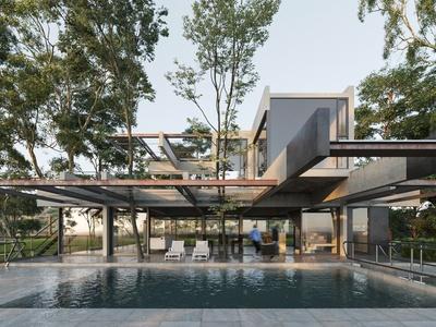 现代流行别墅室外国外3D模型下载