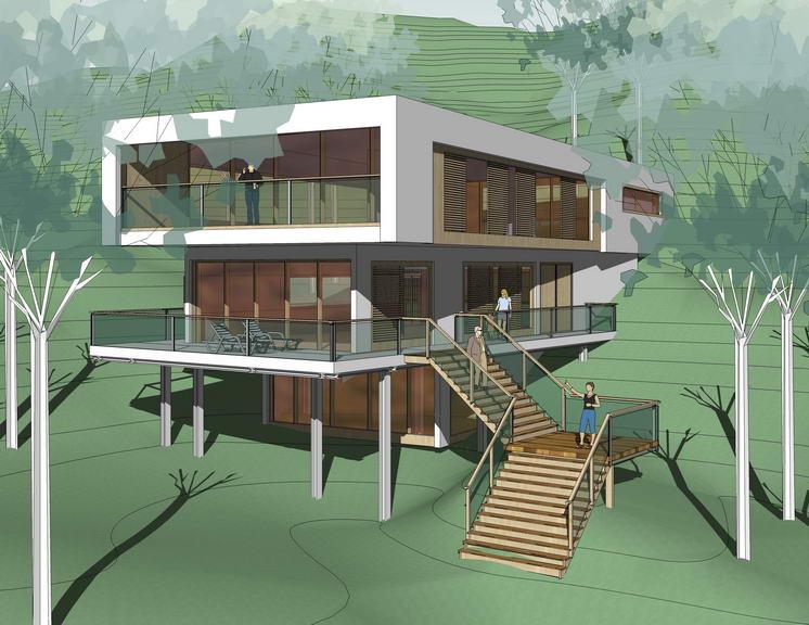 現代風格山地別墅SU模型