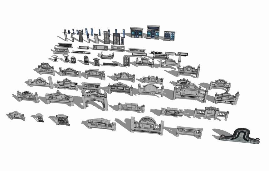民国建筑元素SU模型