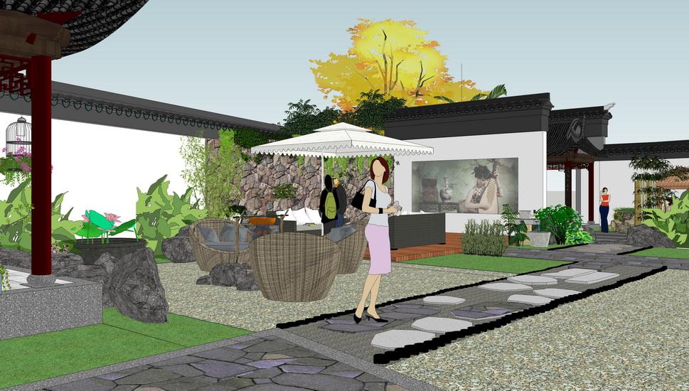 中式民宿庭院景观SU模型