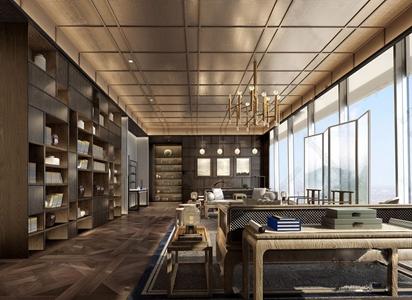 新中式接待区 新中式接待区 多人沙发 边几 角几 屏风 装饰柜 鼓凳 吊灯