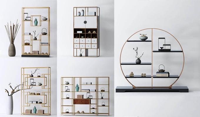 新中式装饰架组合 新中式装饰架 书柜 金属柜 展示架 装饰柜 博古架 多宝阁 瓶罐 干枝 绿植 摆件