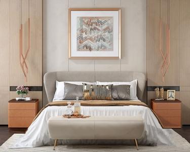 爱马仕橙色现代床头柜双人床组合 现代双人床 床头柜 床尾凳 吊灯 挂画 床品 饰品摆件