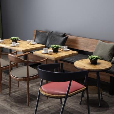 工业风餐桌椅卡座组合3D模型