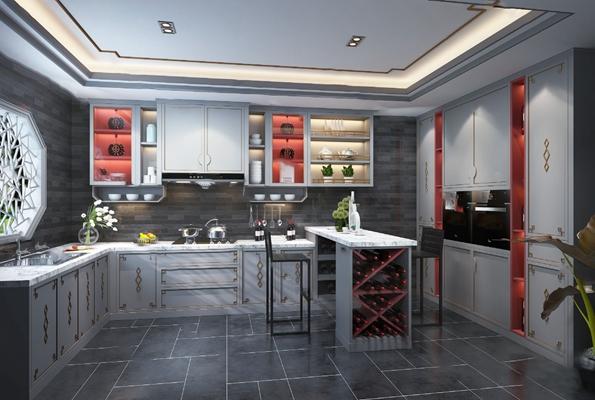 新中式厨房3D模型