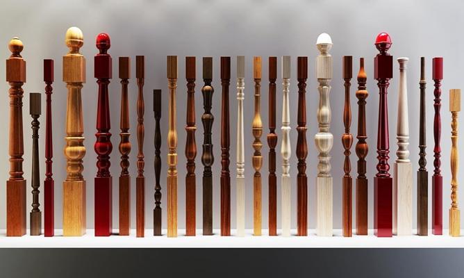 欧式实木楼梯栏杆立柱扶手集合 欧式楼梯立柱 实木立柱