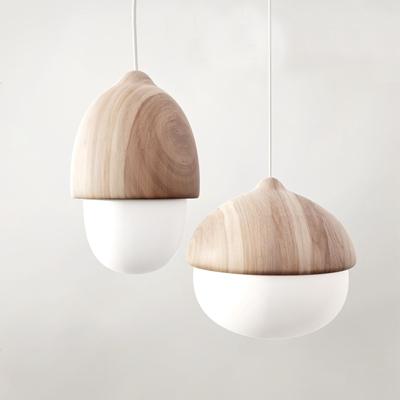 北欧木质吊灯台灯组合3D模型