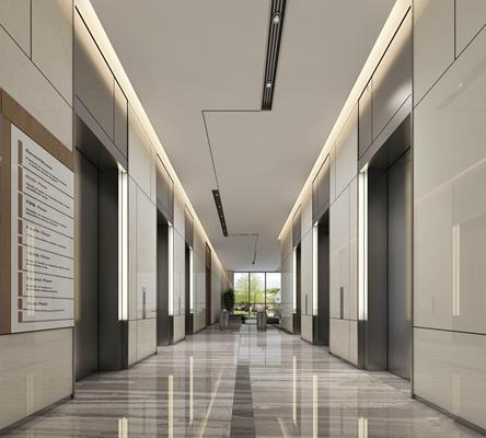 現代辦公商務大堂電梯廳3D模型