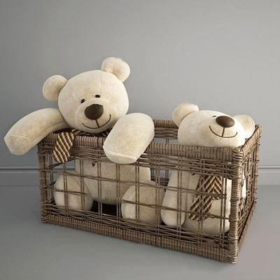 现代藤编框小熊公仔3D模型