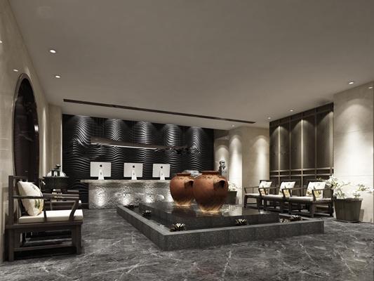 中式酒店前台接待区3D模型