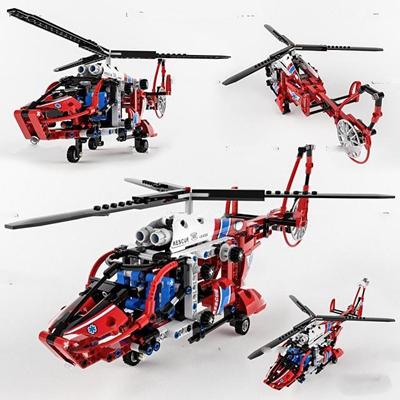 现代乐高直升机玩具3D模型