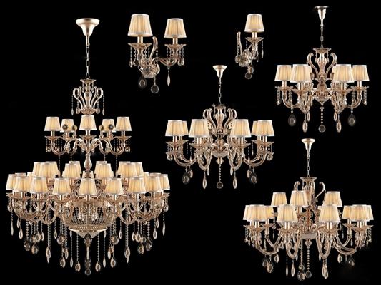 欧式多层水晶吊灯壁灯组合3D模型