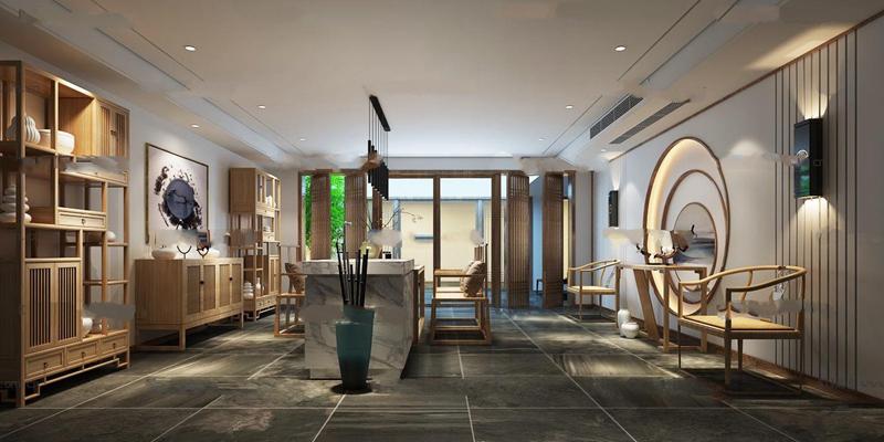新中式會所茶室會客室3D模型