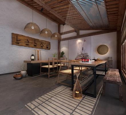 中式民宿接待前台3D模型