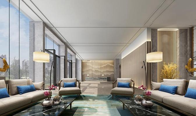 新中式酒店大堂电梯厅3D模型