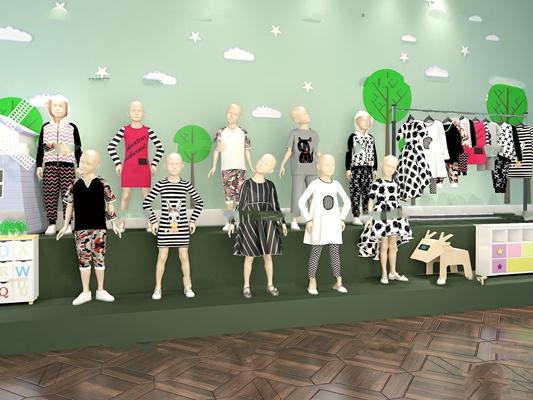 现代儿童模特童装店橱窗3D模型