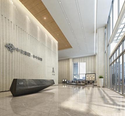 现代办公楼商务大堂3d模型