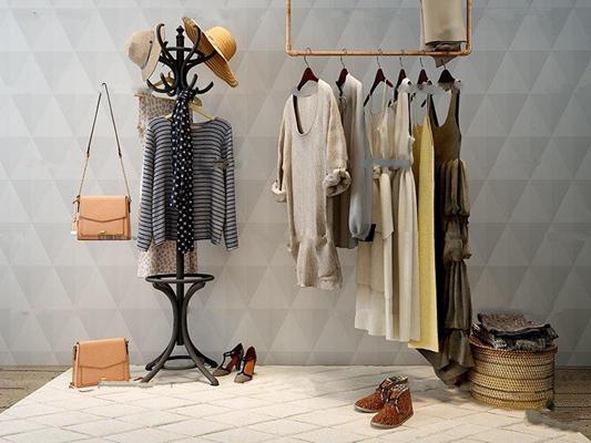 现代衣服衣架单肩包组合3D模型