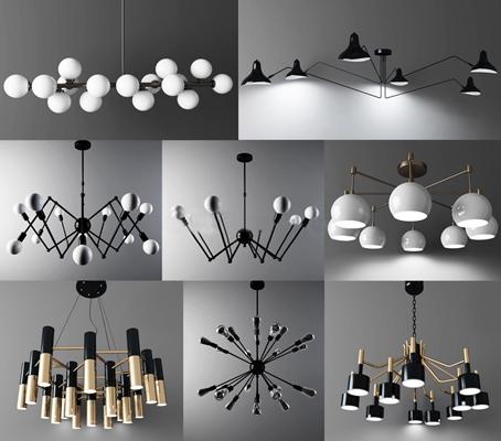 现代金属吊灯组合3D模型下载