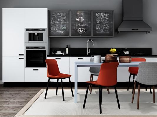 北欧餐厅敞开式厨房3D模型