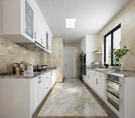 欧式厨房空间3D模型【ID:57147105】