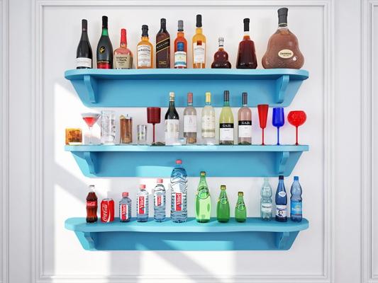 现代酒水饮料组合3D模型