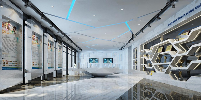 现代游戏公司前台大堂展厅3D模型