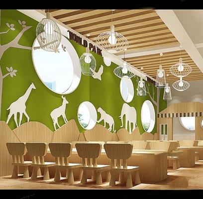 動物雕刻版藝術吊燈兒童幼兒園桌椅組合