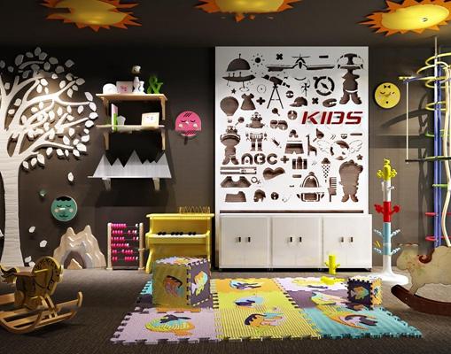 现代儿童玩具边柜组合3d模型