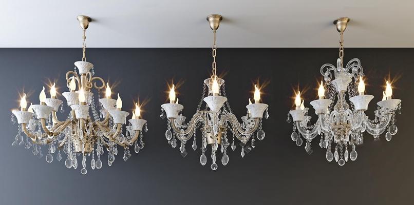 欧式水晶吊灯组合3D模型