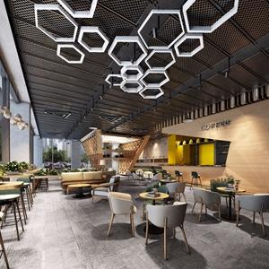 北欧咖啡厅 北欧咖啡厅 休闲椅 茶几 吊灯 多人沙发 前台